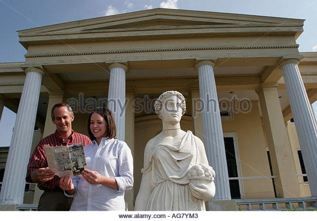 Alabama Demopolis Gaineswood Greek Revival mansion 1861 classical female statue couple brochure - Stock Image