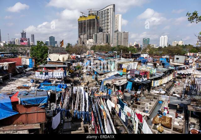Mumbai India Asian Mahalaxmi Dhobi Ghat Dhobighat hanging laundry open air laundromat outdoor high rise modern condominium - Stock Image