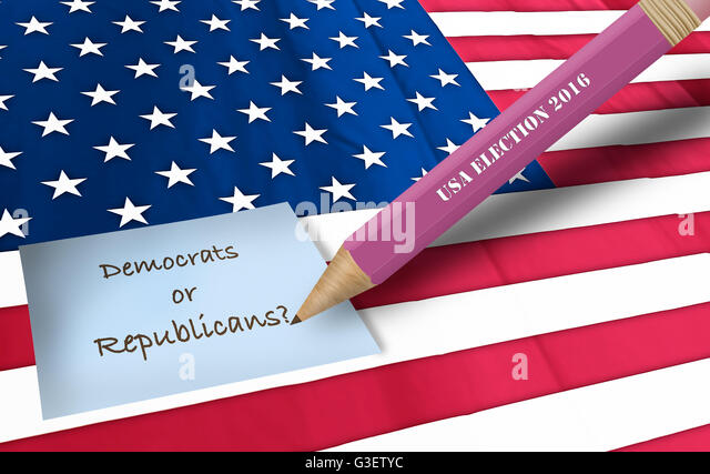 american flag on a macro view for usa 2016 election - Stock Image