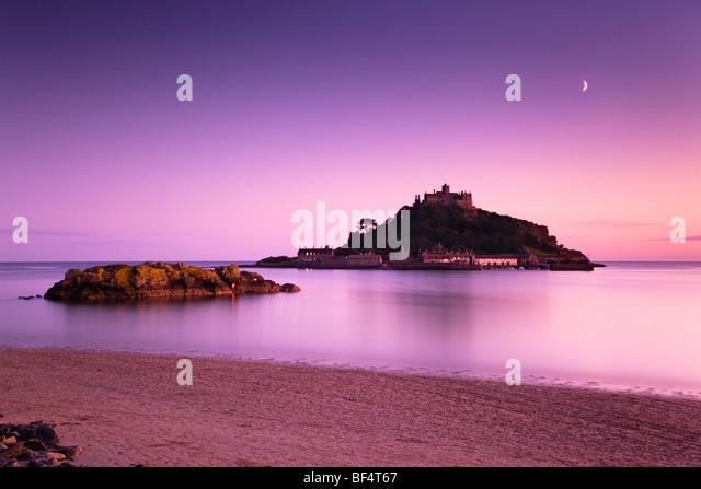 St Michael's Mount at sunset; Marazion; Cornwall - Stock Image