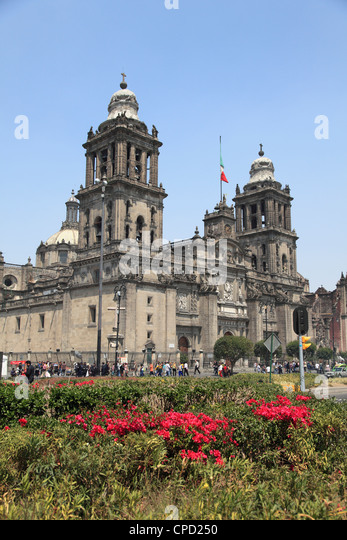 Metropolitan Cathedral, the largest church in Latin America, Zocalo, Plaza de la Constitucion, Mexico City, Mexico - Stock Image