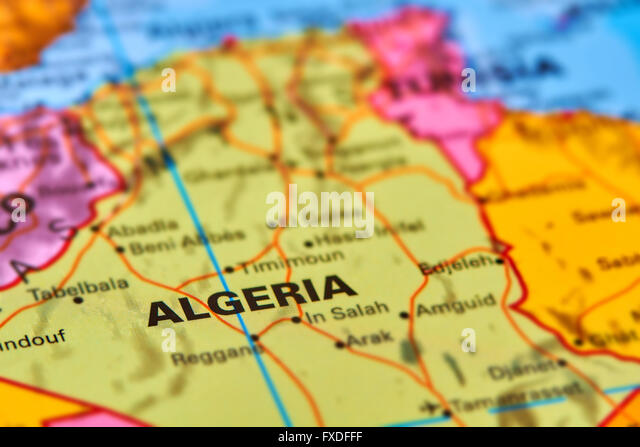 Algeria Country in Africa on the World Map - Stock Image