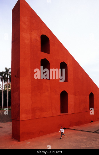 Giant sundial, Samrat Yantra at Jantar Mantar ancient observatory in Delhi, India - Stock Image
