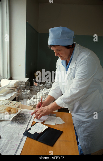 Russia former Soviet Union Moscow health clinic doctor - Stock Image