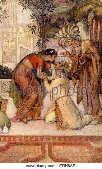 Madalasa restored to Kuvalayaswa. From Illustrations of Hindu Myths by Evelyn Paul  (1883 - 1963). - Stock-Bilder