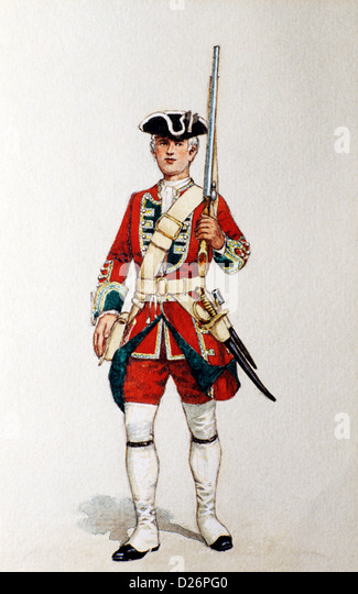 British Military Print, Redcoat, Green Howards Museum, Private 1742,  18th century soldier soldiers uniform uniforms, - Stock Image