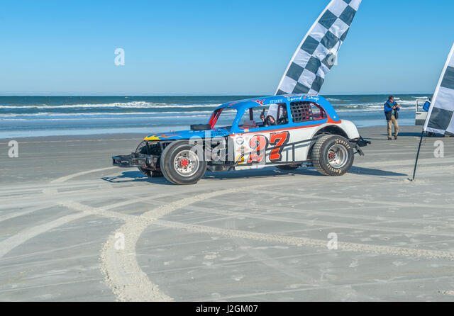 Antique NASCAR car, North Turn, Ponce Inlet, Florida, USA - Stock Image