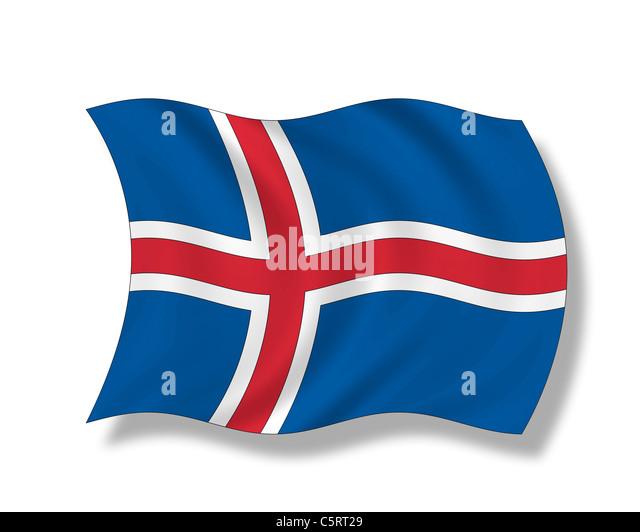 Illustration, Flag of Iceland - Stock Image