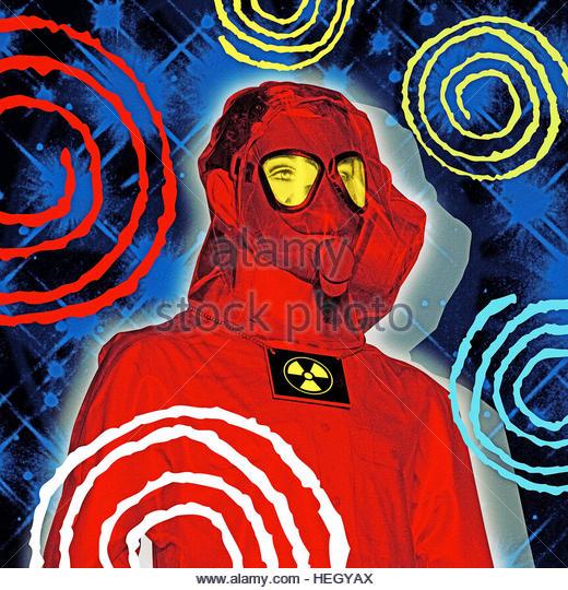 Man Radiation Suit mask retro futuristic space background - Stock Image