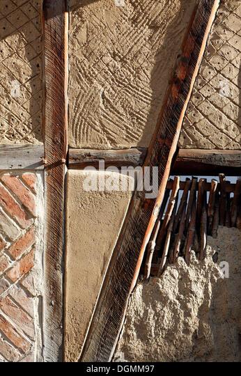 Wattle and daub masonry, layer of clay plaster, 'Staenderbau' half-timber museum, Word, Quedlinburg, Harz, - Stock Image