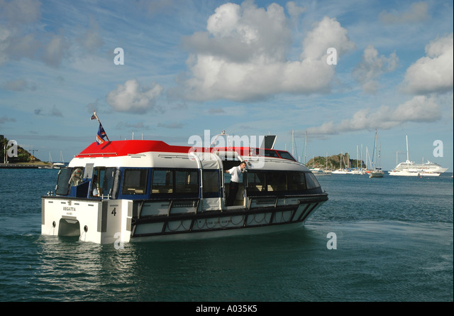 St Barths St Barts Gustavia Harbor cruise ship tender - Stock Image