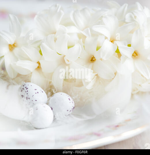 white hyacinths, feathers and mini eggs - Stock Image