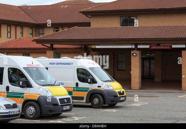 Ambulances waiting outside A&E Accident and Emergency department of Telford Hospital in Shropshire England UK - Stock Image