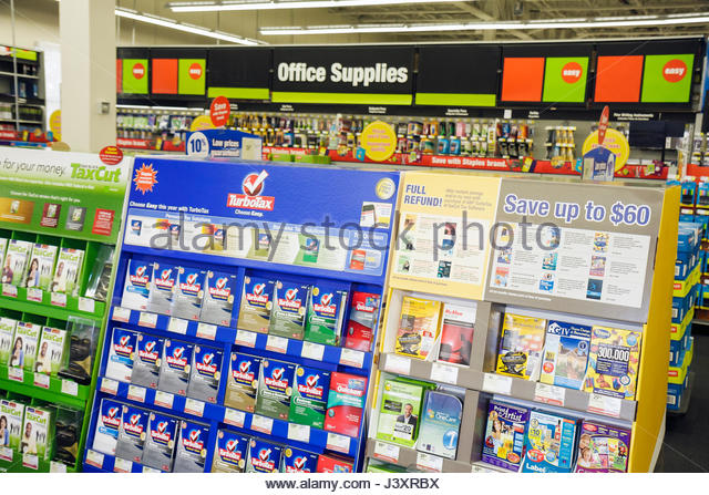 Miami Florida Staples office supply products store retail business chain merchandise display packaging software - Stock Image