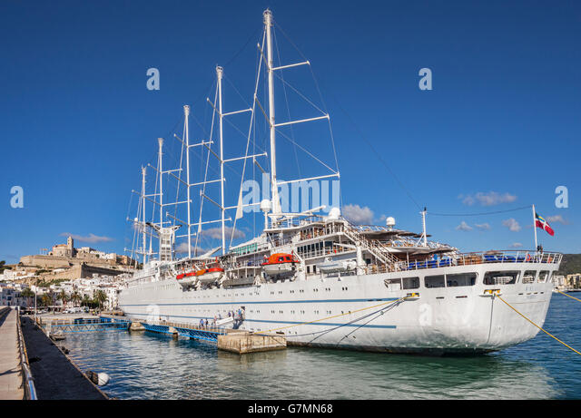 The Wind Surf, one of the largest sailing cruise ships in the world, Ibiza port, Spain. - Stock Image