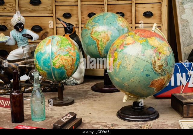 KORNELIMUENSTER, GERMANY, 18th June, 2017 - Globes for sale on the historic fair of Kornelimuenster - Stock Image