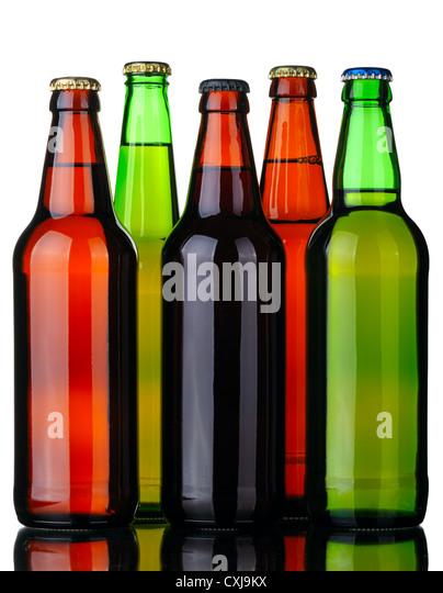Five bottles of beer - Stock Image
