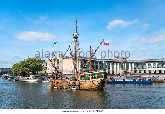 The Matthew, a replica ship that John Cabot and his crew used sailing to Newfoundland in 1497, Bristol, Somerset, - Stock Image