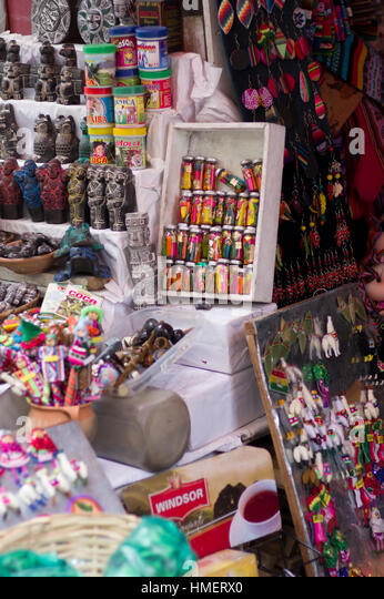 Souvenirs and items for traditional medicine and witchcraft on sale Witches Market, Calle de las Brujas, La Paz, - Stock Image