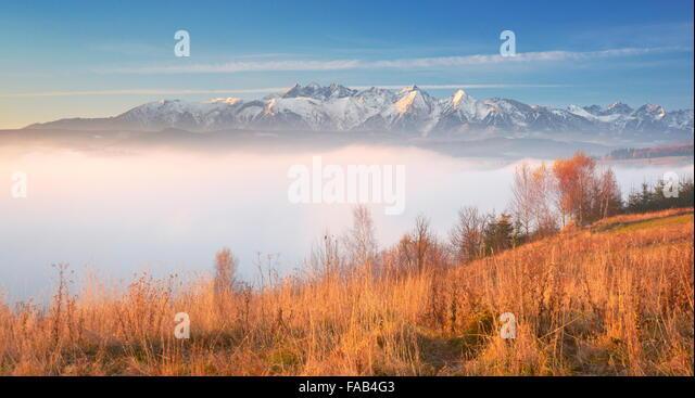 Tatra Mountains - view from Czorsztyn, Pieniny region, Poland - Stock Image