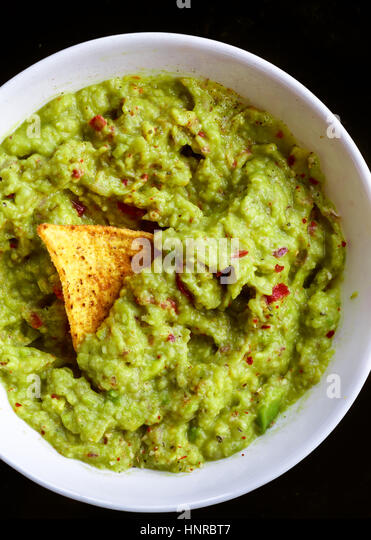 Guacamole with Chips - Stock Image