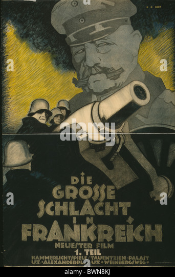 Great Battle in France 1918 Poster movie film advertising German soldiers cannon General Paul von Hindenburg - Stock-Bilder