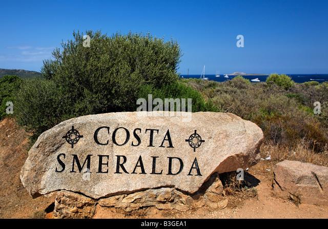 Italy Sardinia Rock with insription Costa Smeralda - Stock Image