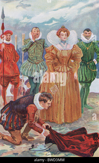 Tradition says Sir Walter Raleigh placed his cloak above a mud puddle to prevent Elizabeth I from muddying her shoes. - Stock-Bilder