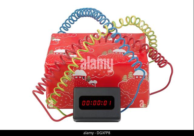 electronic time bomb on white background - Stock Image