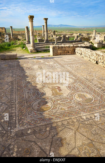 Roman ruins of Volubilis, House of Dionysus, Meknes region, UNESCO, Morocco, Africa - Stock Image