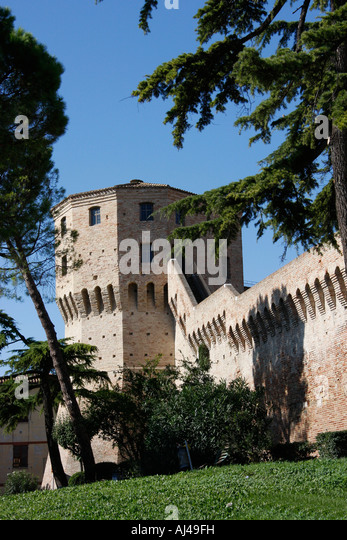 Corner buttress in the massive wall surrounding the medieval town of Jesi in the Le Marche region of Italy - Stock Image