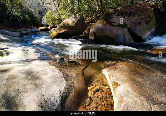 French Broad River near Living Waters - Balsam Grove, North Carolina USA - Stock Image