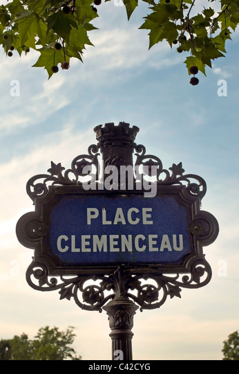 Street sign for Place Clemenceau - Stock Image