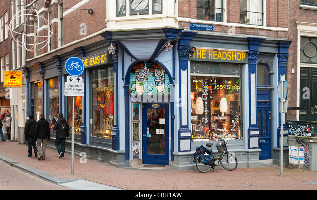 Headshop, Amsterdam, Netherlands - a famous place to buy legal drug smoking equipment - Stock Image
