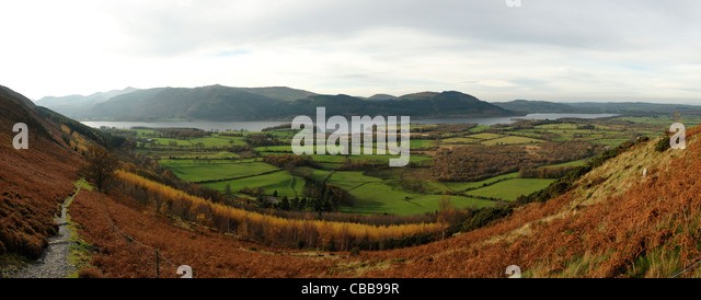 Bassenthwaite viewed from near Ullock Pike in the Lake District - Stock Image