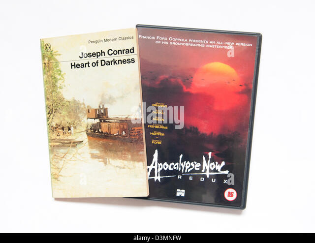 Heart Of Darkness by Joseph Conrad and the DVD of Apocalypse Now which was adapted from the book. - Stock-Bilder