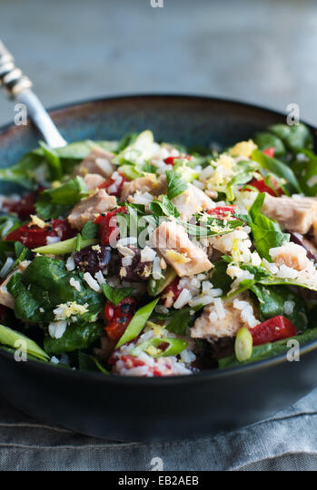 Tossed salad with tuna, rice and vegetables - Stock Image