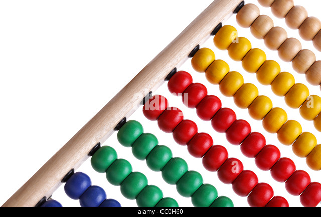 Colourful beaded abacus - Stock Image