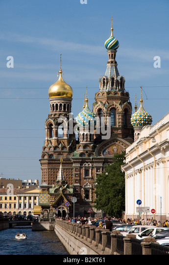 Church on Spilled Blood St Petersburg Russia - Stock Image