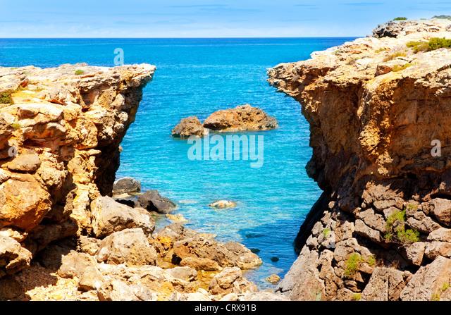Ibiza Canal d en Marti Pou des Lleo beach in balearic islands of Mediterranean sea - Stock-Bilder