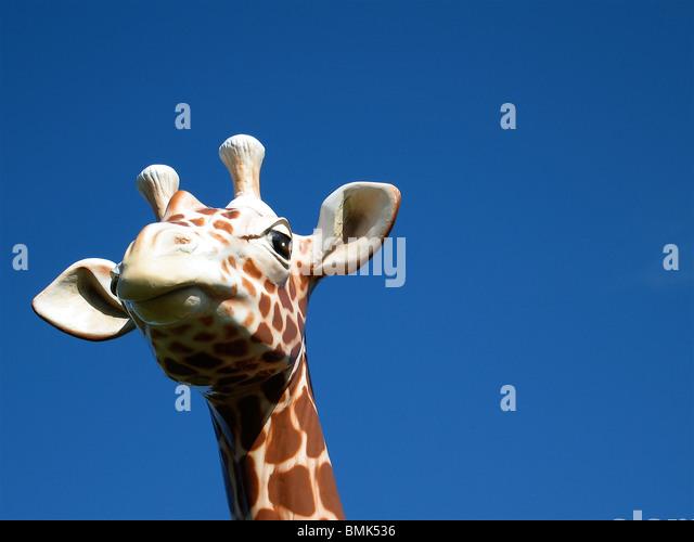 Plastic Giraffe against blue sky - Stock Image