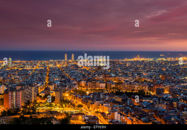 Dusk skyline, Barcelona, Catalonia, Spain - Stock Image