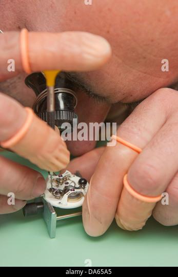 manufacture, Jura, work, job, occupation, profession, occupations, professions, canton, JU, Jura, watchmaker clocks, - Stock Image