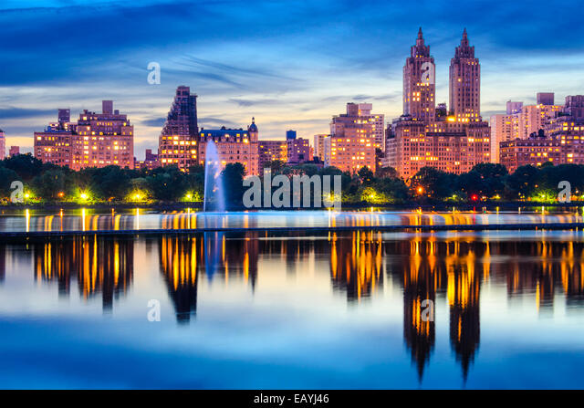 New York City, USA cityscape at Central Park Lake. - Stock Image