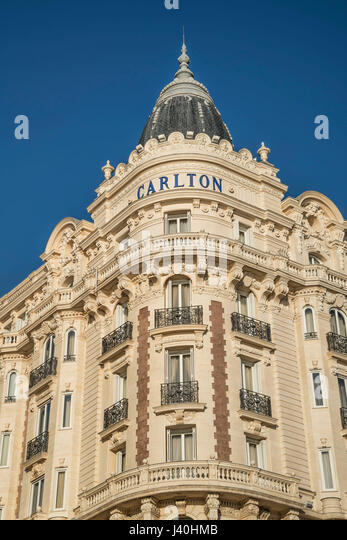 Carlton, Hotel, Facade, Palm tree, Cannes, Cote d'Azur, France, - Stock Image