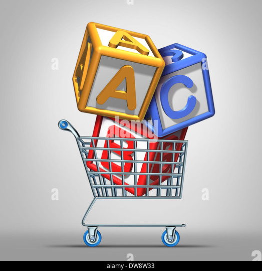 Preschool shopping and early education concept with a a group of three dimensional school alphabet blocks in a shop - Stock Image