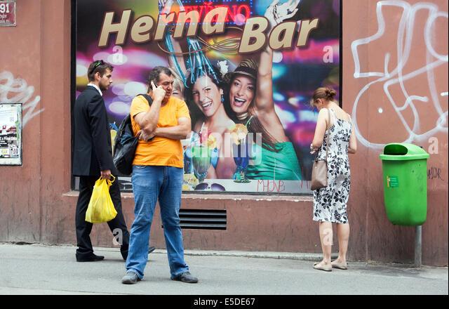 People on the street Zizkov Prague, Czech Republic - Stock Image