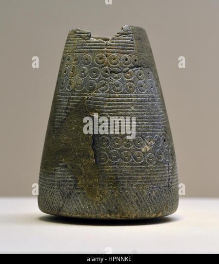 Vase. Dhahran. Around 1600-1250 BCE. Chlorite. National Museum, Riyadh. - Stock Image