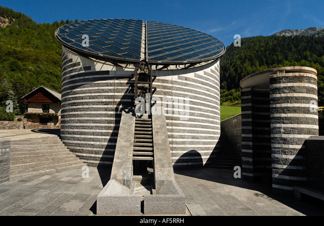 Switzerland Ticino Mogno church designed by Mario Botta - Stock Image