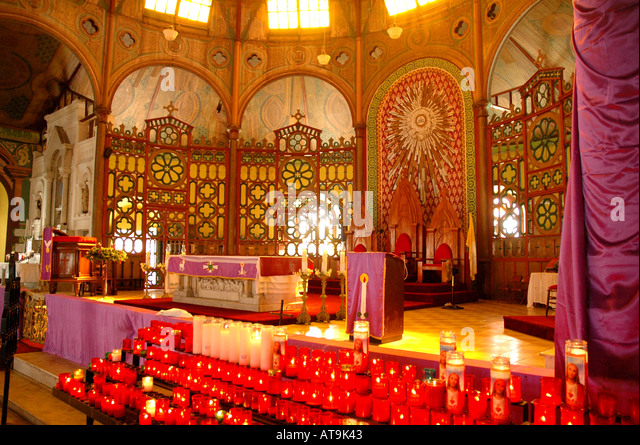 St Lucia Castries Cathedral of the Immaculate Conception Roman Catholic altar - Stock Image
